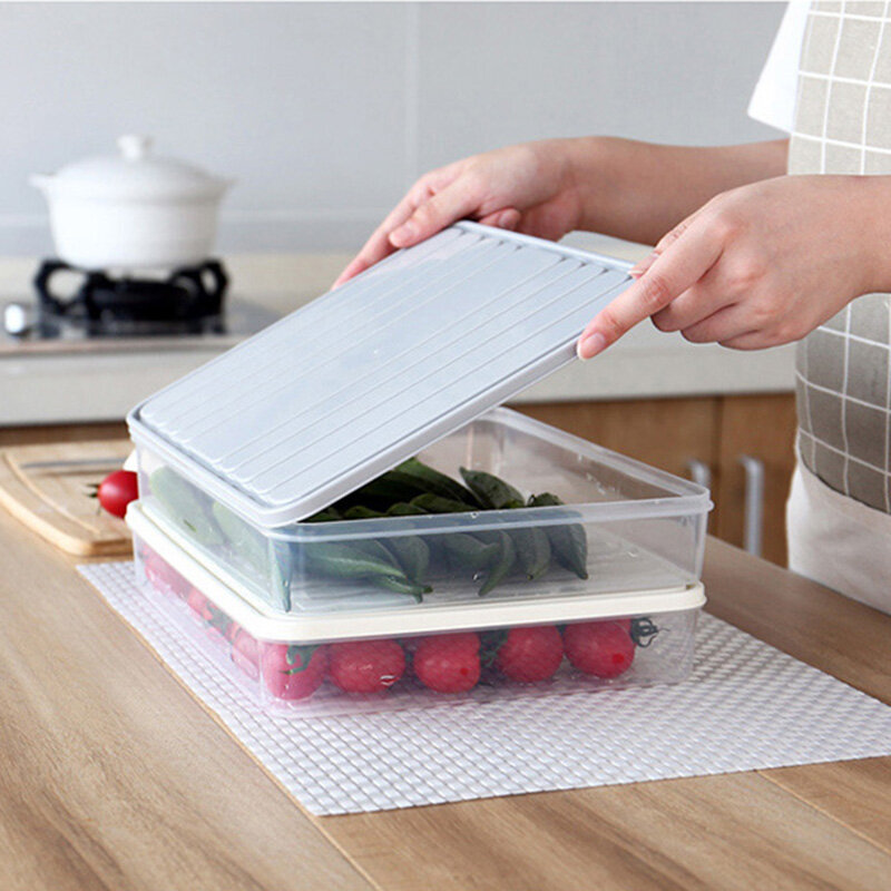 Plastic Transparent Single-Layer Sealed Box Refrigerator Food Storage Box with Locking Lids