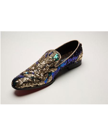 Men's Shiny Slip On Multi Color ~ Brown Shoes