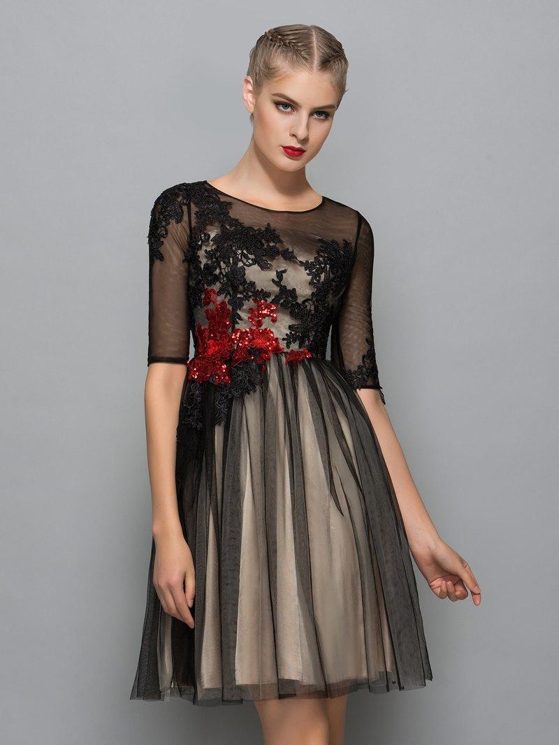 Ericdress Scoop Neck Half Sleeves Appliques Sequins Cocktail Dress