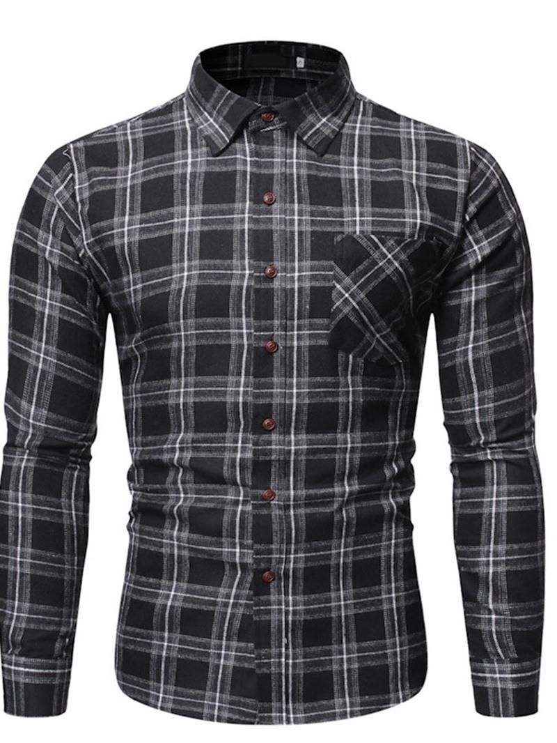 Ericdress Plaid Button Lapel Single-Breasted Slim Men's Shirt