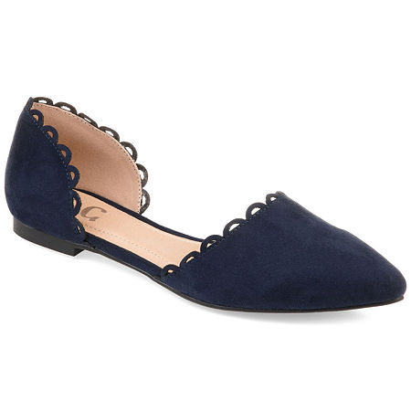 Journee Collection Womens Jezlin Slip-on Pointed Toe Ballet Flats, 5 1/2 Medium, Blue