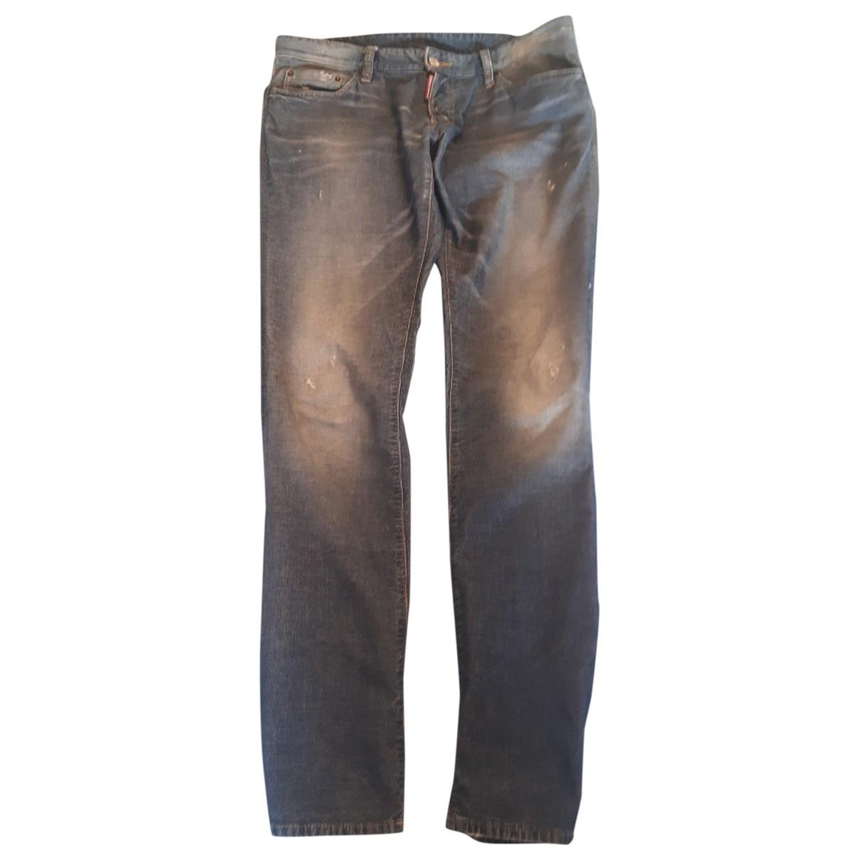 Dsquared2 \N Blue Cotton Trousers for Men 50 IT