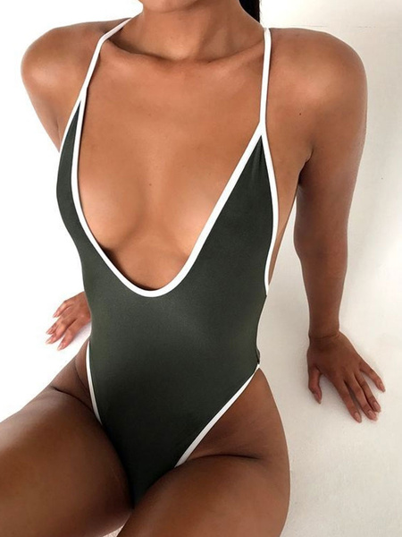 Milanoo One Piece Swimsuit Straps Two Tone Backless Hunter Green Sexy Monokini Swimsuit