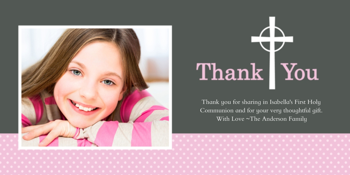 Communion Flat Glossy Photo Paper Cards with Envelopes, 4x8, Card & Stationery -Thank You Cross Dots Pink