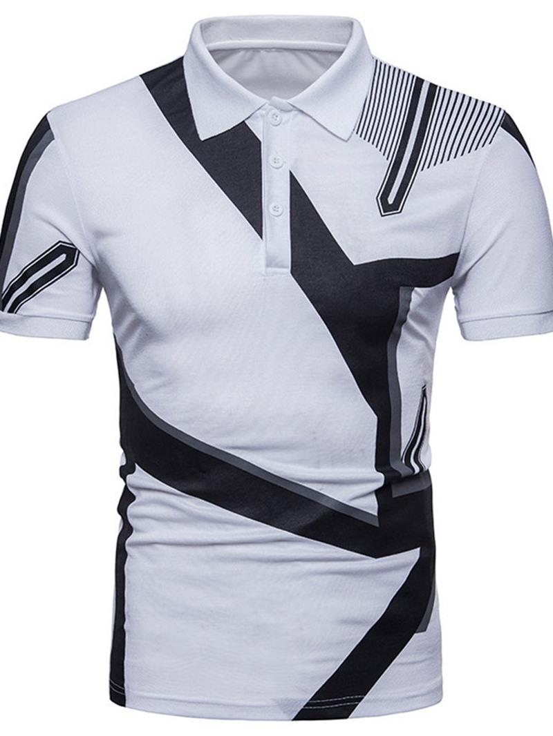 Ericdress Polo Neck Print Casual Polo Shirt