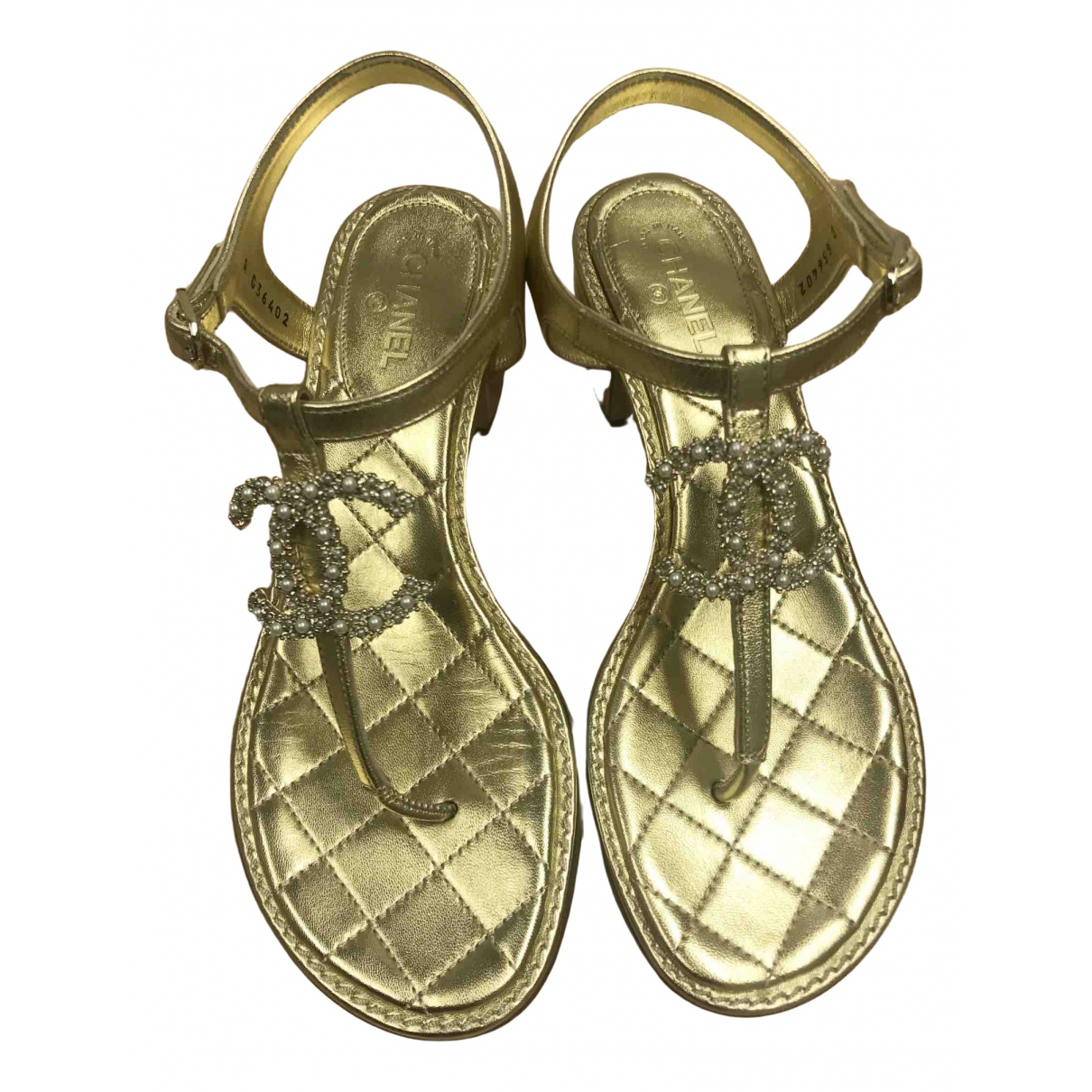 Chanel \N Gold Leather Sandals for Women 36 EU