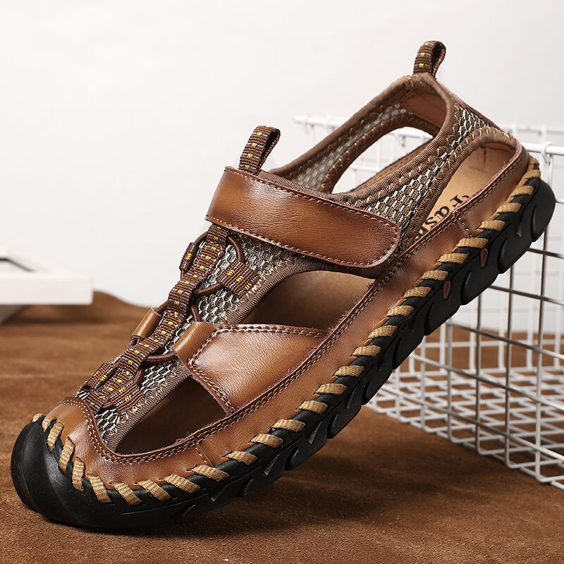Men Closed Toe Hand Stitching Outdoor Non Slip Dress Leather Sandals