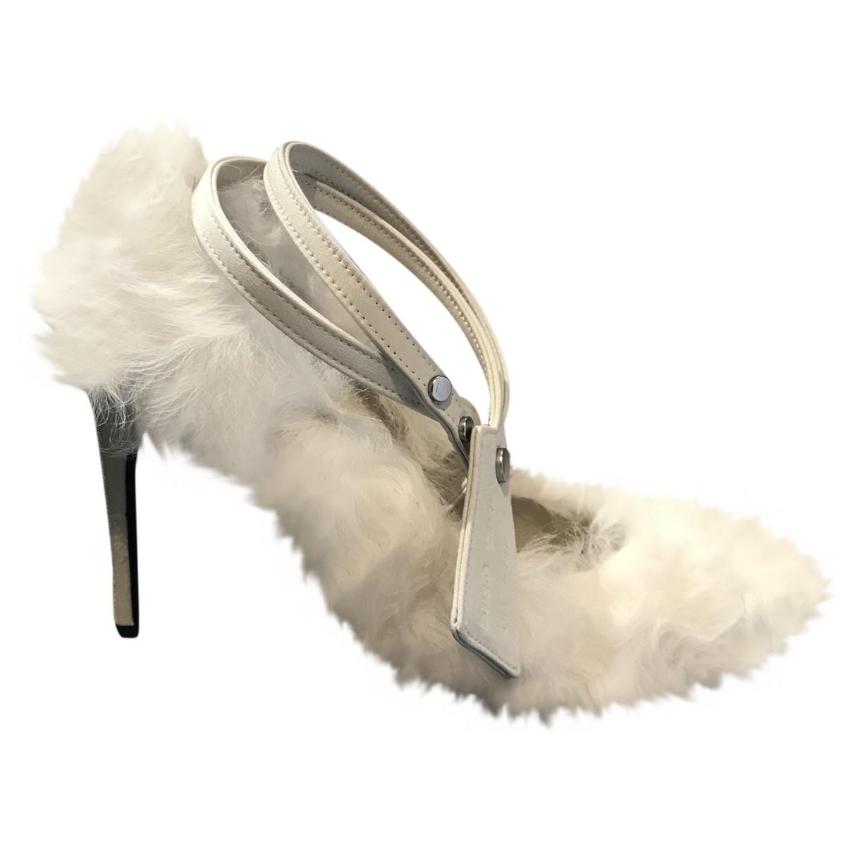 Off-white \N White Shearling Heels for Women 37 IT