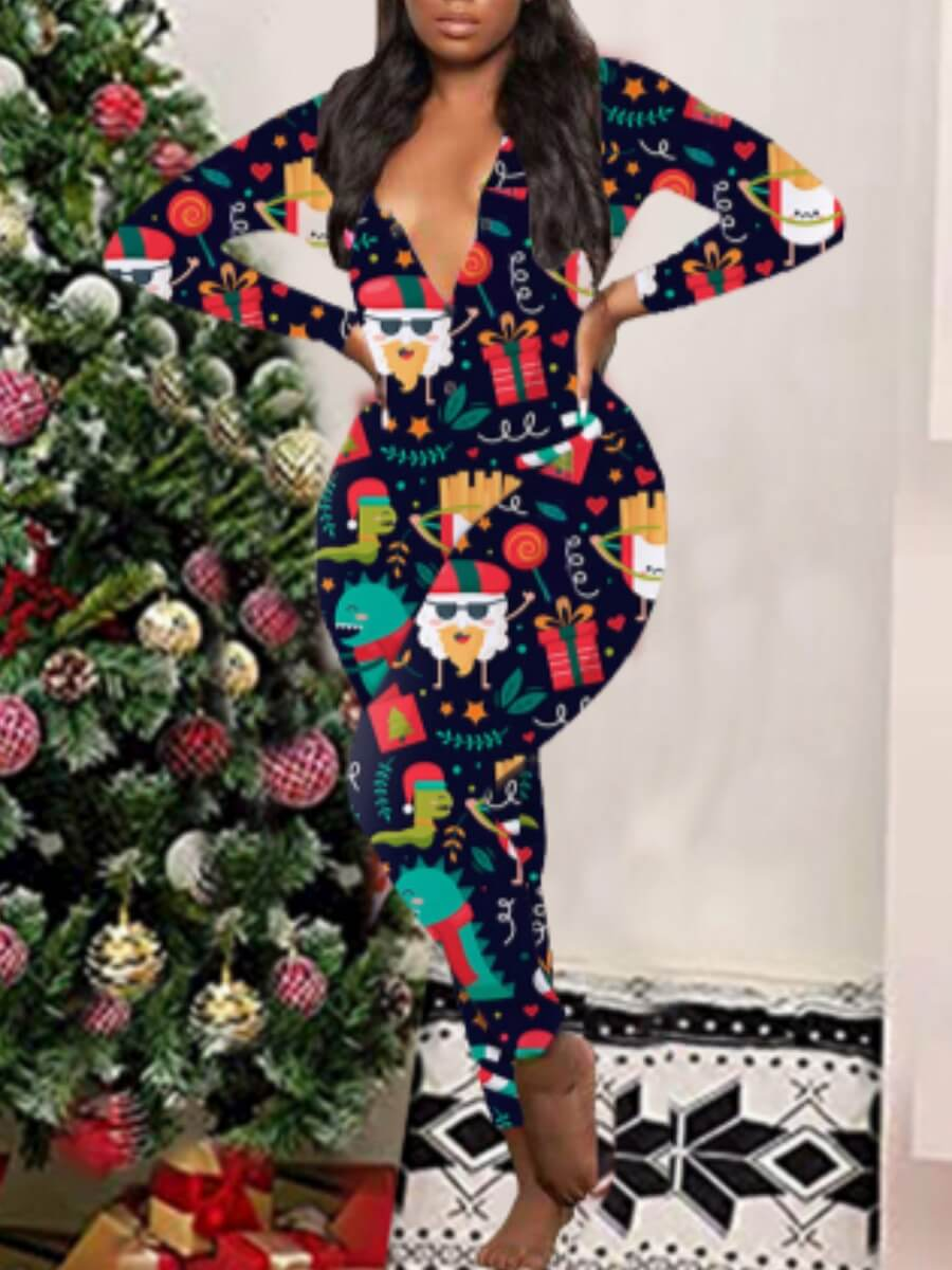 LW Lovely Christmas Day Full Print Multicolor Sleepwear