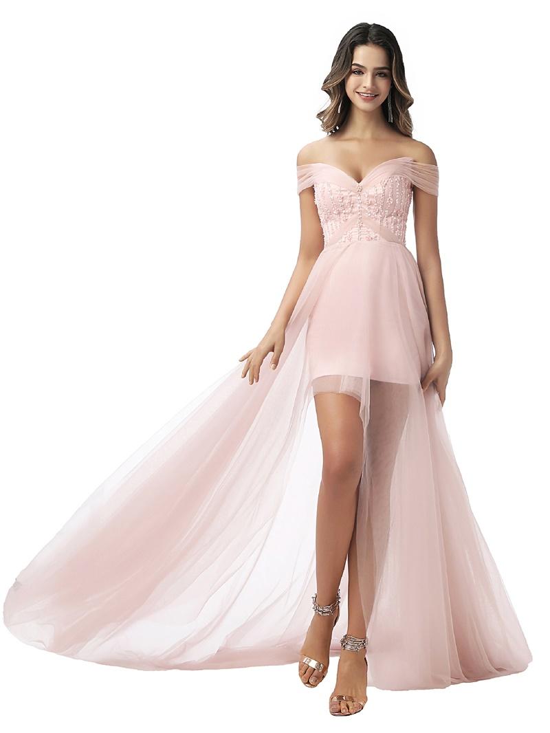 Ericdress Off-The-Shoulder A-Line Sleeveless Prom Dress 2020