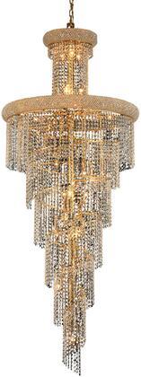 V1800SR30G/RC 1800 Spiral Collection Chandelier D:30In H:72In Lt:28 Gold Finish (Royal Cut