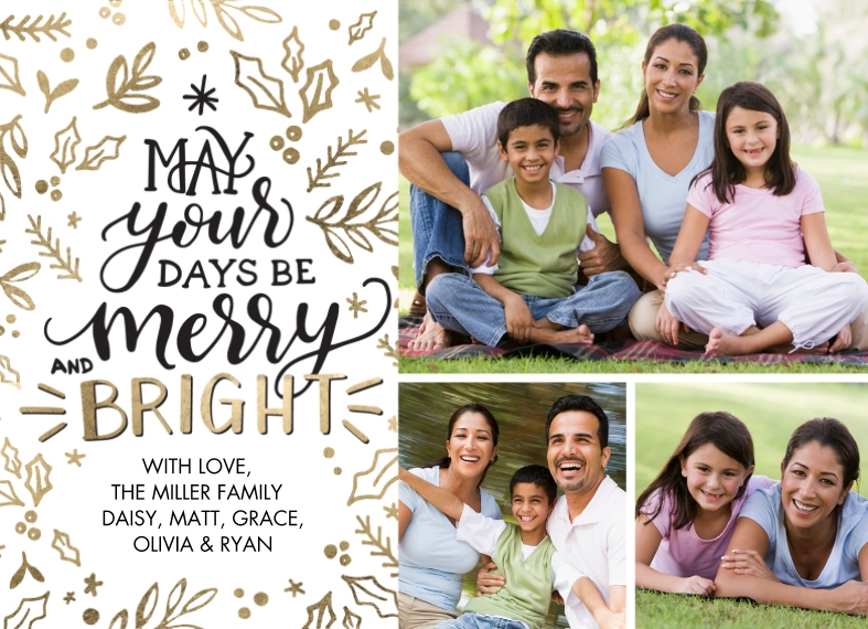 Holiday 5x7 Postcards, Card & Stationery -Postcard Christmas Merry Bright Decorative