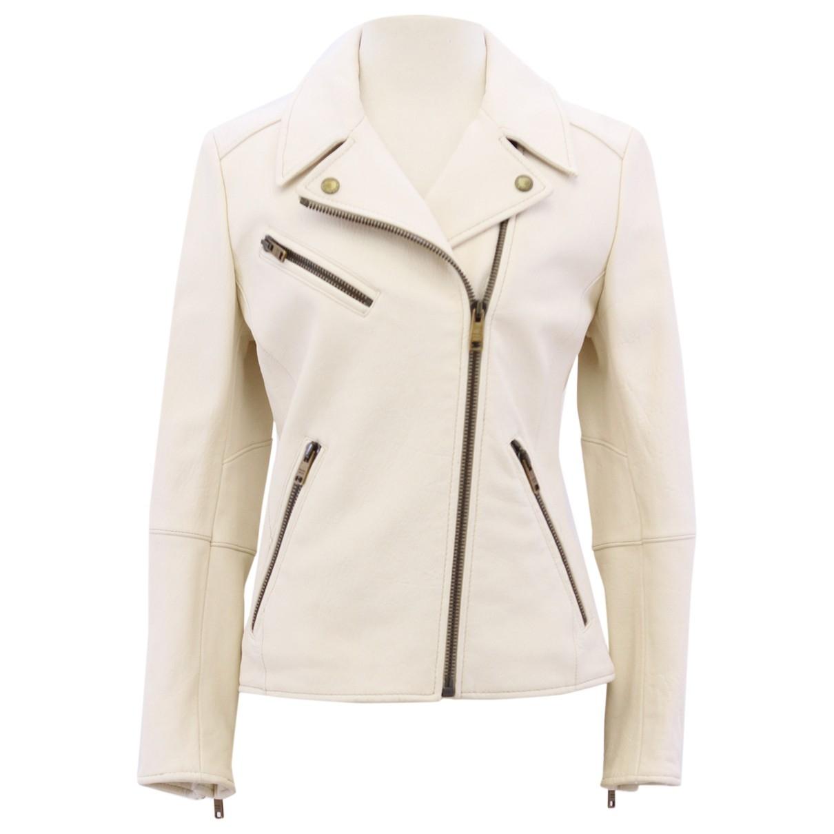 Prada \N Ecru Leather Leather jacket for Women 40 IT