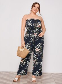 Plus Floral Print Tube Jumpsuit