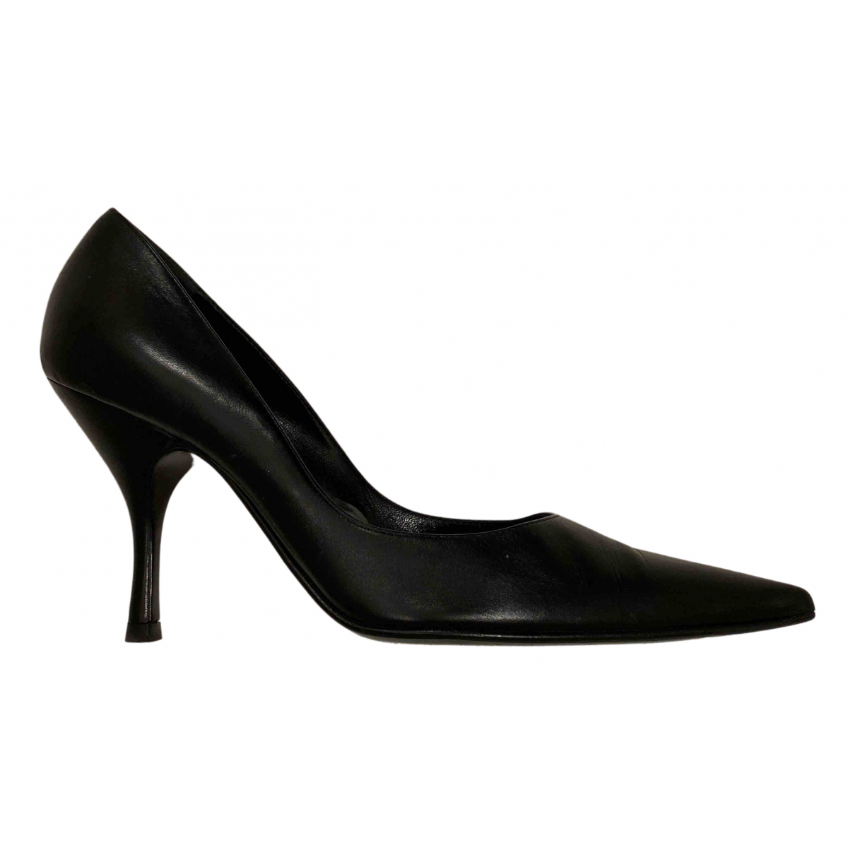 Sergio Rossi N Black Leather Heels for Women 39.5 EU