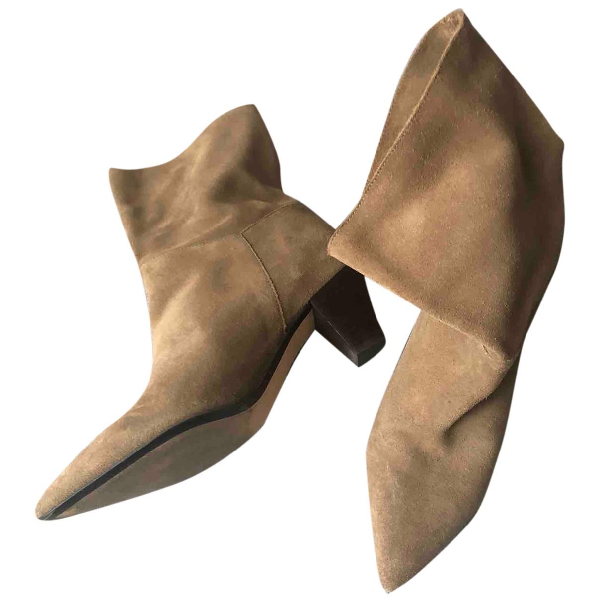 Zara - Bottes   pour femme en suede - beige