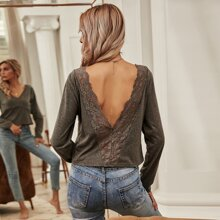 V-neck Lace Panel Backless Tee