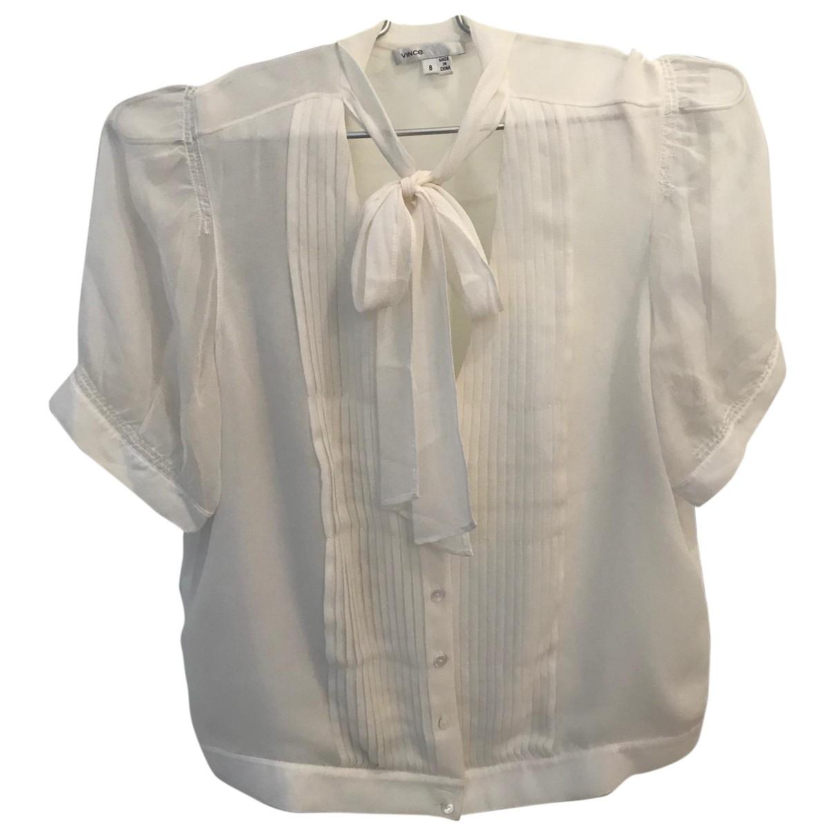 Vince - Top   pour femme en soie - blanc