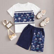 T-Shirt mit tropischem Muster & Shorts