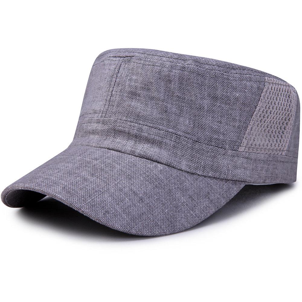 Men Wide Brim Flat Cap Breathable Adjustable Washed Cotton Mesh Retro-Color Sun Hat