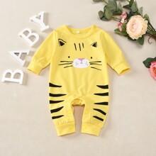 Baby Boy Cartoon Tiger Print Popper Jumpsuit