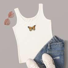 Tank top con bordado de mariposa