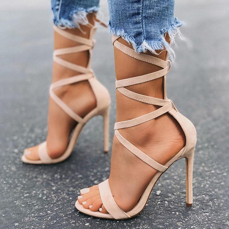 Ericdress Stiletto Heel Open Toe Ankle Strap Plain Sandals