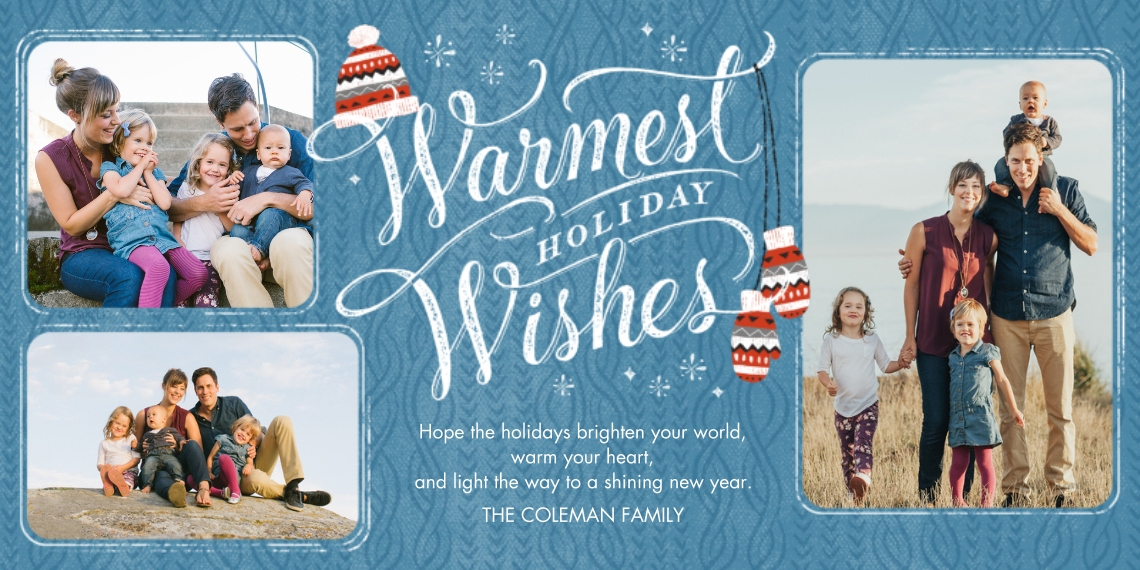 Holiday Photo Cards Flat Glossy Photo Paper Cards with Envelopes, 4x8, Card & Stationery -Knit Sweater Warm Wishes