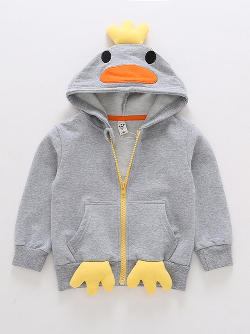 Ericdress Penguin Hooded Cotton Liner Zipper Loose Baby Boys Outerwear