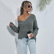 Pullover mit Schlitz und V-Kragen