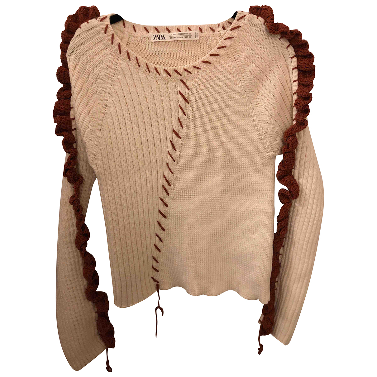 Zara N Beige Cotton Knitwear for Women M International