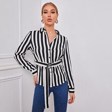 Collared Buttoned Front Self Belted Striped Blouse