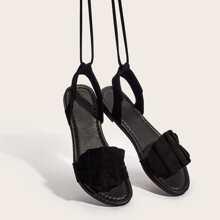 Ruffle Decor Tie Leg Sandals