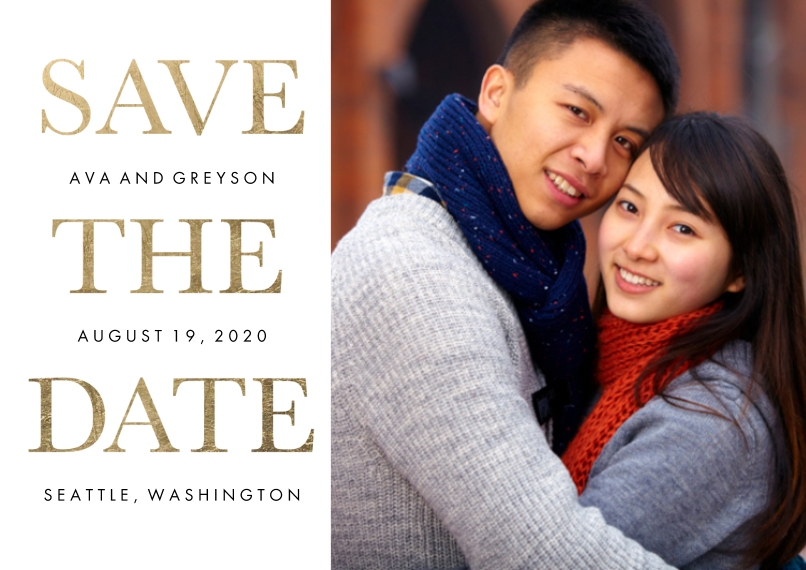 Save the Date 5x7 Cards, Premium Cardstock 120lb with Rounded Corners, Card & Stationery -Save the Date Gold Type