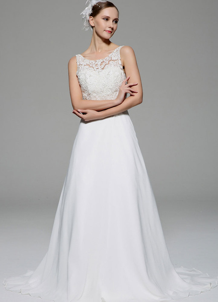 Milanoo Ivory Wedding Dress Illusion Rhinestone Lace Satin Wedding Gown