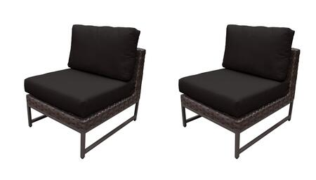 TKC049b-AS-DB-BRN-BLACK Barcelona Armless Chair 2 Per Box - Beige and Black