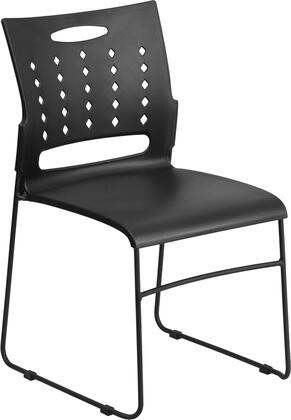 Hercules Collection RUT-2-BK-GG Multipurpose Stack Chair with Air-Vent Back  Black Powder Coated Sled Base Frame  Ergonomically Contoured Design