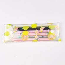 1pc Lemon Print Clear Pencil Case
