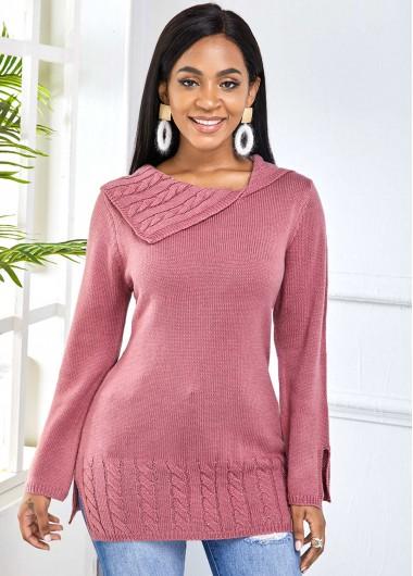 Trendy Long Sleeve Dusty Pink Side Slit Sweater - XL