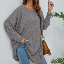 Pullover mit Fledermausaermeln und gebogenem Saum