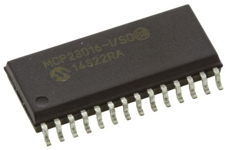 Microchip MCP23016-I/SO, 16-Channel I/O Expander 1MHz, I2C, 28-Pin SOIC (5)
