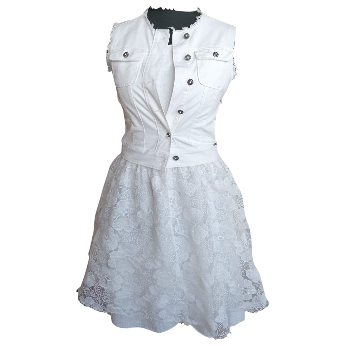 Meteo N White Cotton dress for Kids 14 years - S FR