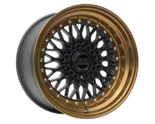 ESM Wheels ESM-002RMBBL17X10-4X100 Matte Black/Bronze Lip ESM-002R Cast Wheel 17x10 4x100/114.3 +15mm