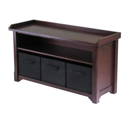 94201 Verona Storage Bench with 3 Foldable Black Color Fabric