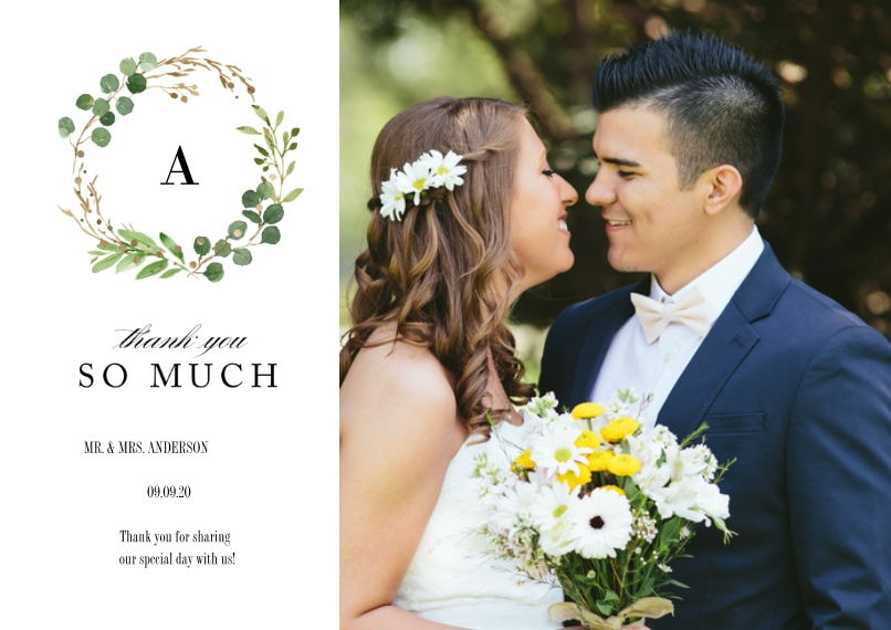 Wedding Thank You 5x7 Cards, Premium Cardstock 120lb with Rounded Corners, Card & Stationery -Wedding Thank You Natures Wreath by Tumbalina