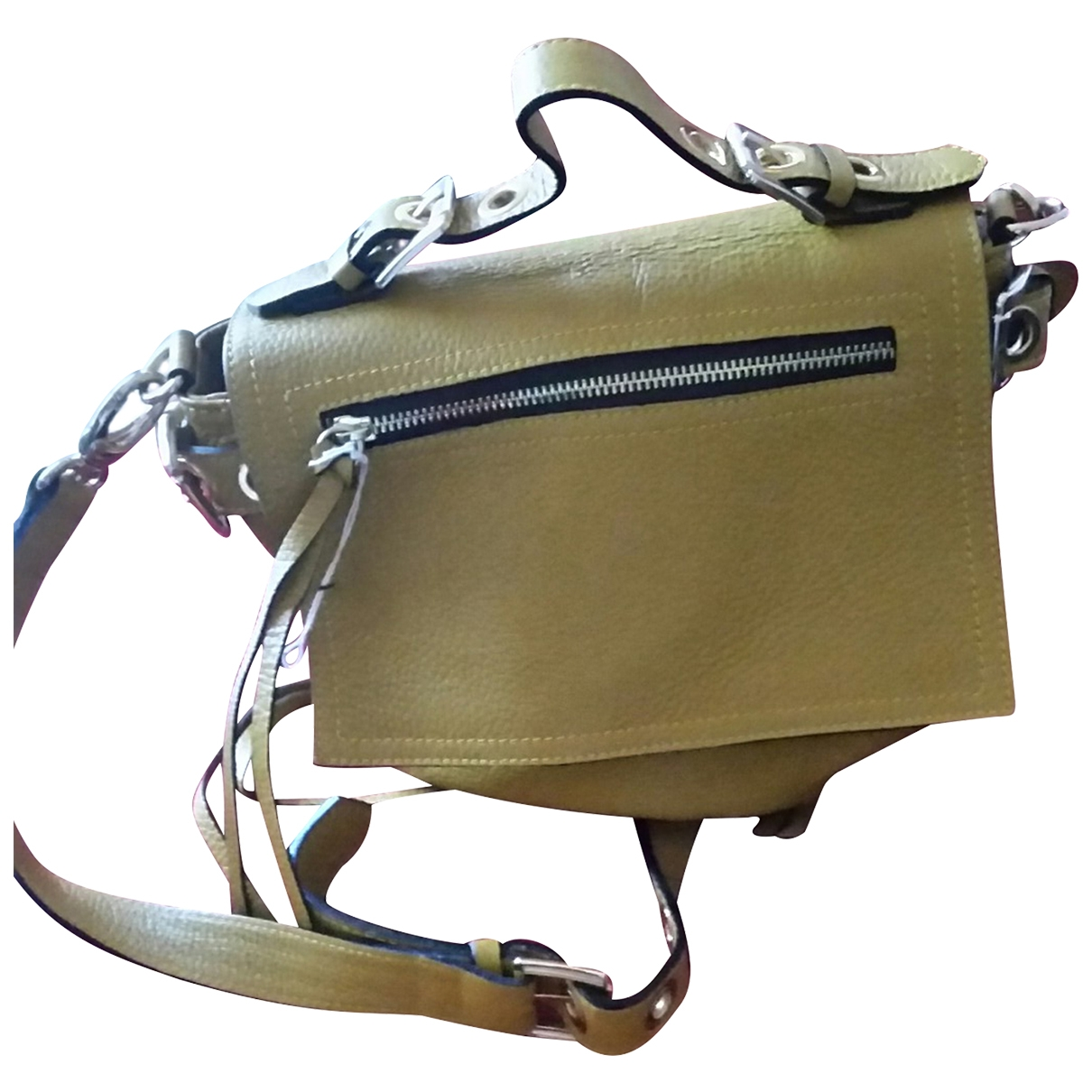 Non Signé / Unsigned \N Ecru Leather handbag for Women \N