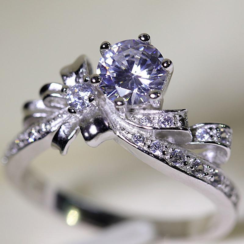 Ericdress Bowtie-Shaped Imitation Diamond S925 Silver Wedding Ring