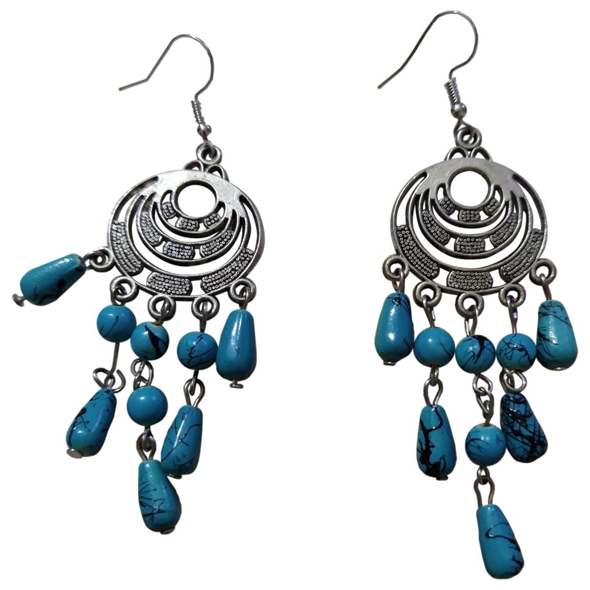 - Boucles doreilles Turquoises pour femme en metal - argente