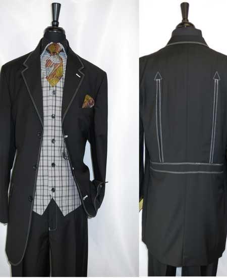 Men's Grey Trimmed 3 Button Notch Lapel Single Vest Belted Black Suit