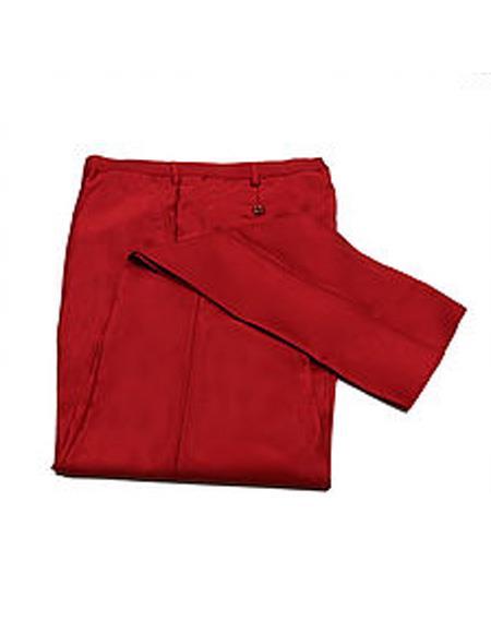 Mens Slim Fit Sharkskin Metallic Shiny Dress Pants Slim Red